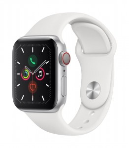 Apple Watch Series 5 GPS+Cellular 40mm, koperta aluminiowa srebrna, pasek biały
